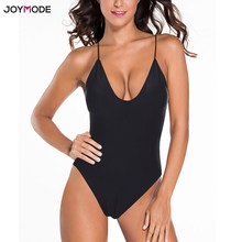 JOYMODE Women One Piece Bikini Sexy Swimsuit Deep V Neck Backless Monokini Black Bath Suit Push Up Plunge Red Swimwear Bodysuit(China)