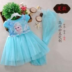 Disney Girls dress Frozen elsa dress+cloak costume princess vestido kids dresses cartoon cute lovely summer cosplay party dress