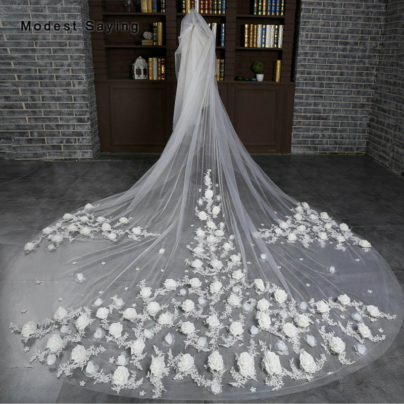 Одежда высшего качества люкс 3 м кружева Розетка церкви собор фаты Net 2018 Длинные Цветочные фату невесты Свадебные аксессуары