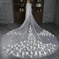 Top Quality Luxury 3M Lace Rosette Church Cathedral Wedding Veils Net 2018 Long Floral Bridal Veils Bride Wedding Accessories