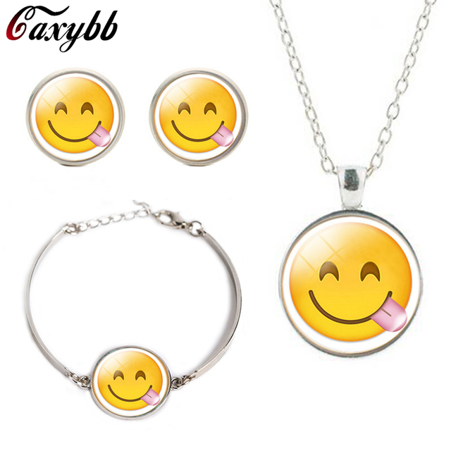 Fashion Trend Smiley Face Emoticon Stud Earrings Round Pendant