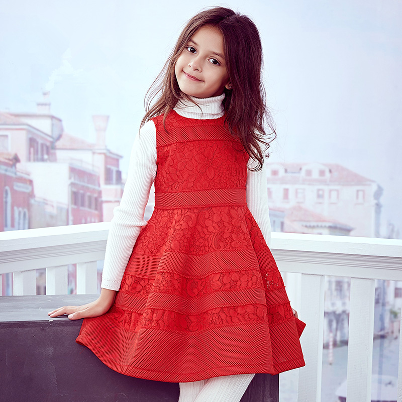 Brand girl lace dress 2018 new female baby children's sleeveless dress red princess dress sleeveless lace spliced bodycon mini dress