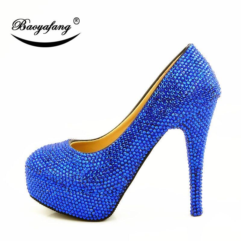 2019 femmes chaussures de mariage bleu diamant cristal chaussure mariée demoiselle d'honneur chaussures de mariage