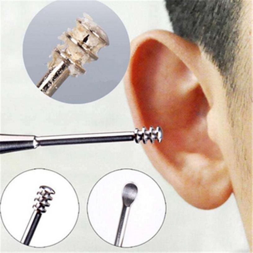 TOP Earpicker 1pcs Stainless Steel Spiral Earpick Ear Wax Curette Removable Ear Cleaner