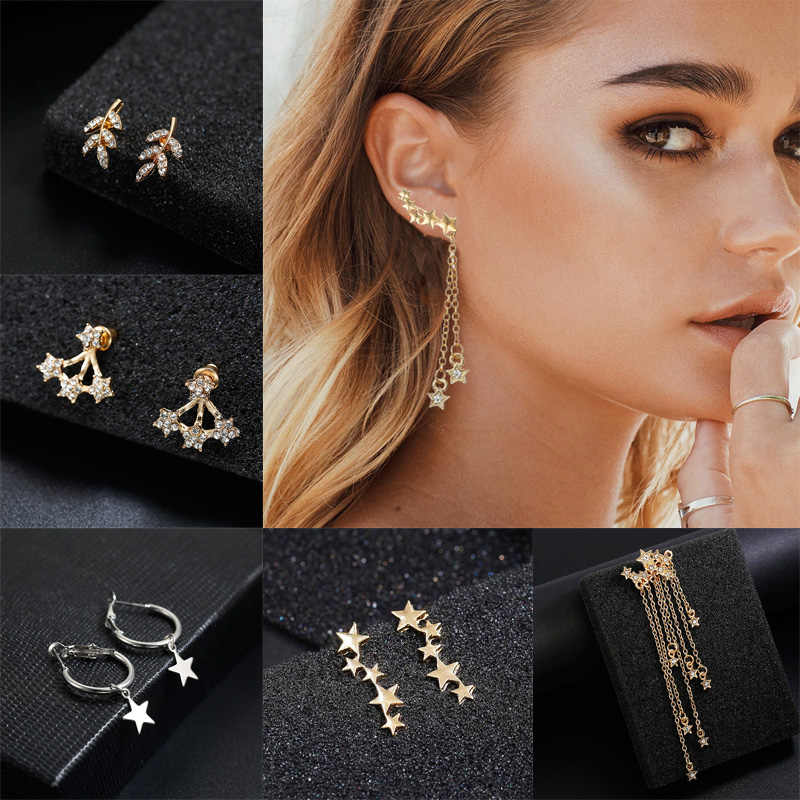 Gold Silver Star Small Stud Earrings For Girls Women Fashion Jewelry Rhinestone Korean Style Elegant Temperament Christmas Gift