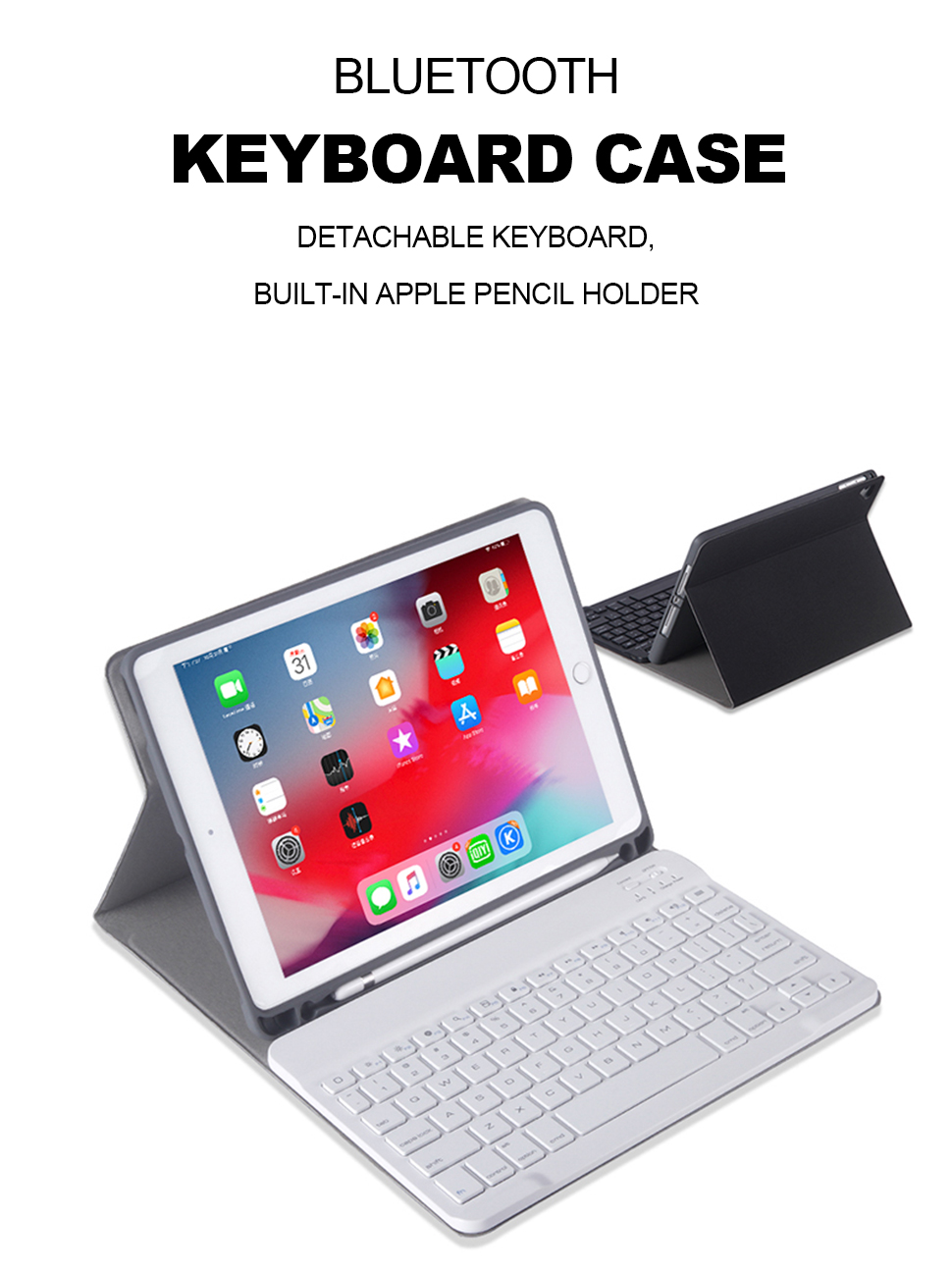 For iPad Pro 11 10.5 2018 2017 Keyboard Case With Pencil Holder Cloth Texture Silicone Back Cover For iPad Air 3 2019 Case Funda (6)