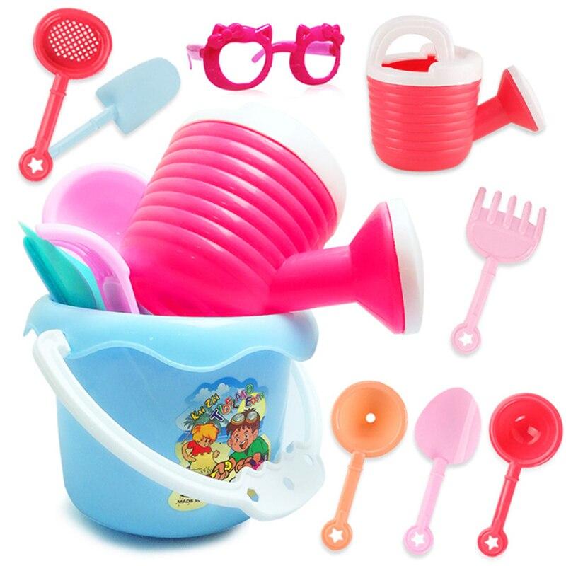 9Pcs Funny Sand Beach Toys Castle Beachside Colorful Bucket Spade Shovel Rake Water Tools Set Random Color Gifts For Children