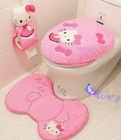 4pcs Set Hello Kitty Bathroom Sanitary Sitting Toilet Seat Cushion Ring Floor Mat Closestool Cover Cover