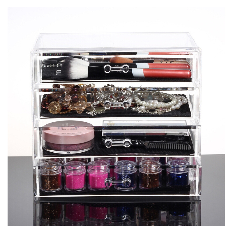 Professional Heavy-duty Clear Acrylic Cosmetic Storage box  Makeup Organizer with 4 Drawers & Flip Top for jewelry cosmetic hot survival kit tin higen lid small empty silver flip metal storage box case organizer for money coin candy keys