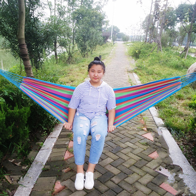 4 Colour 1 Person Comfortable Stripe Camping Hammock for Traveling Bushwalking Outdoors Leisure Canvas Hamac Single-person Hamak