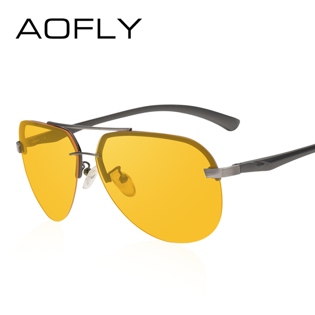 AOFLY New Arrival Yellow Polarized Rimless Sunglasses Men Women Night Vision Goggles Driving Glasses Metal Legs Eyewear AF8053 1