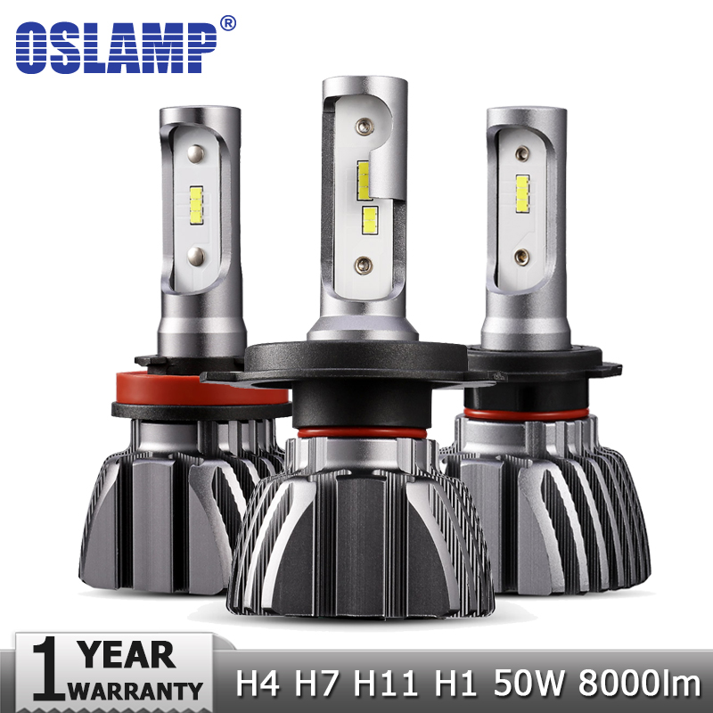 Oslamp H4 Hi lo Beam H7 H11 H1 Car LED Headlight Bulbs 50W 6500K 8000lm Auto Led Headlamp Fog Light CSP Chips Headlights 12v 24v 2x led car headlight h4 led headlight bulbs for cree chips h4 h7 h11 12v 80w 8000lm led automobiles head lamp front light