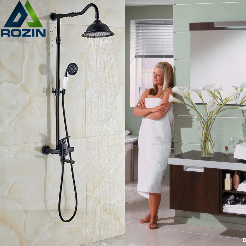Oil-rubbed Bronze 8 Rain Shower Faucet Set Wall Mounted Bathroom Shower Mixers with Handshower Tub Taps