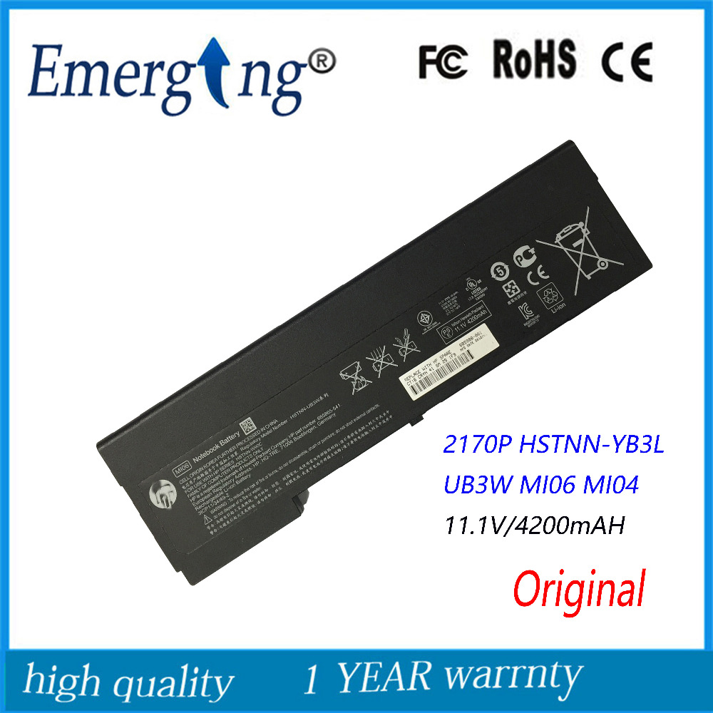 11.1V 4200Mah New Original Laptop Battery for HP HP 2170p MI06 HSTNN-UB3W