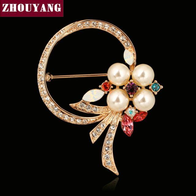 ZHOUYANG ZYX021 Imitation Pearl Crystal Brooches  Champagne Gold Plated  Jewelry Austrian Crystal  Wholesale