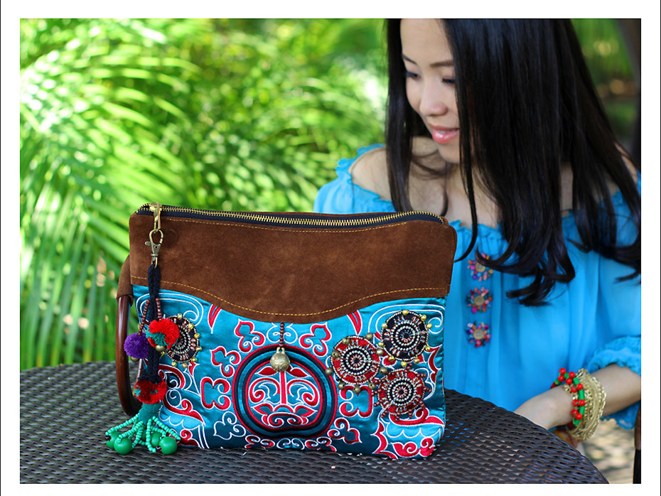 Bohochic Women S Hot Day Clutches National Vintage Embroidery Abrazine Calfskin Genuine Leather Handbag My0102 Boho Chic In From Luggage