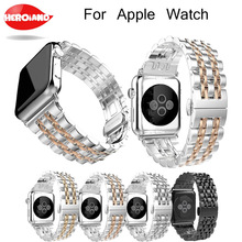 цена на HeroIand new Sport Strap For Apple Watch Band 38mm 42mm for watch 3 2 1 Stainless Steel Wristband Link bracelet Watch band Strap