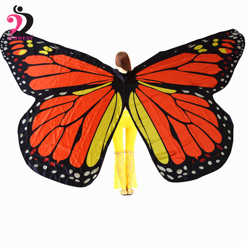 Isis Wings 360 Degree Rotating Butterfly Shawl Decorated Women Butterfly Print Chiffon Beach ScarvesBelly Dance Butterfly Wings in Belly Dancing from Novelty Special Use