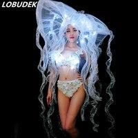 LED Big Hat White Pearls Bra Bikini Women DJ Costume Nightclub Bar Lady Singer Dancer DS Stage Outfit Models Catwalk Dance Wear