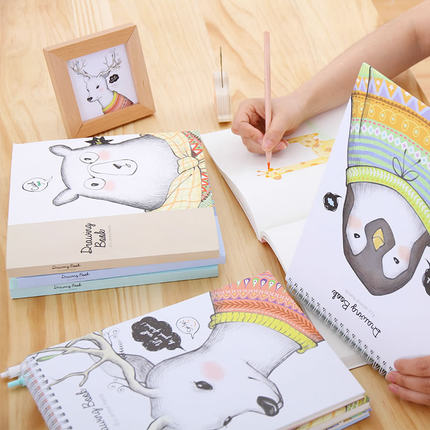 MoeTron Cute Sketchbook White Paper Notebook Drawing Book Spiral Sketch Book With Blank Pages kicute 1pc art thick blank paper sketchbook drawing book for drawing painting sketch scrawl student stationery pattern random