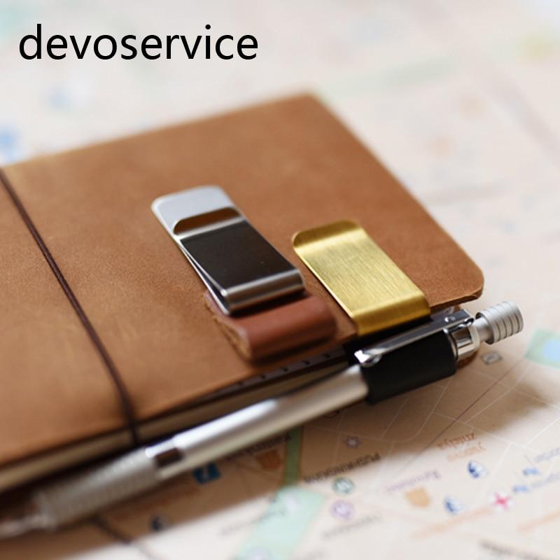 Travel Notebook Sketchbook Leather Clip Metal Pens Holder Clip Accessories Pen Note Folder School Supplies
