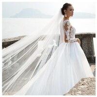 LORIE Beach Wedding Dress Long Sleeves A Line Vintage Princess Informal Wedding Gown Elegant Boho Beach Bride Dress 2019