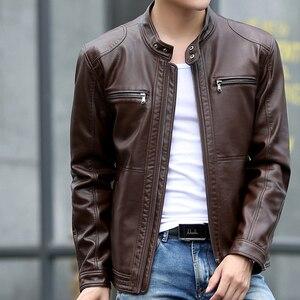 Image 2 - Mountainskin 5XL ชายเสื้อแจ็คเก็ตหนังผู้ชาย Stand Collar Coats ชายรถจักรยานยนต์หนังแจ็คเก็ต Casual Slim แบรนด์เสื้อผ้า SA010