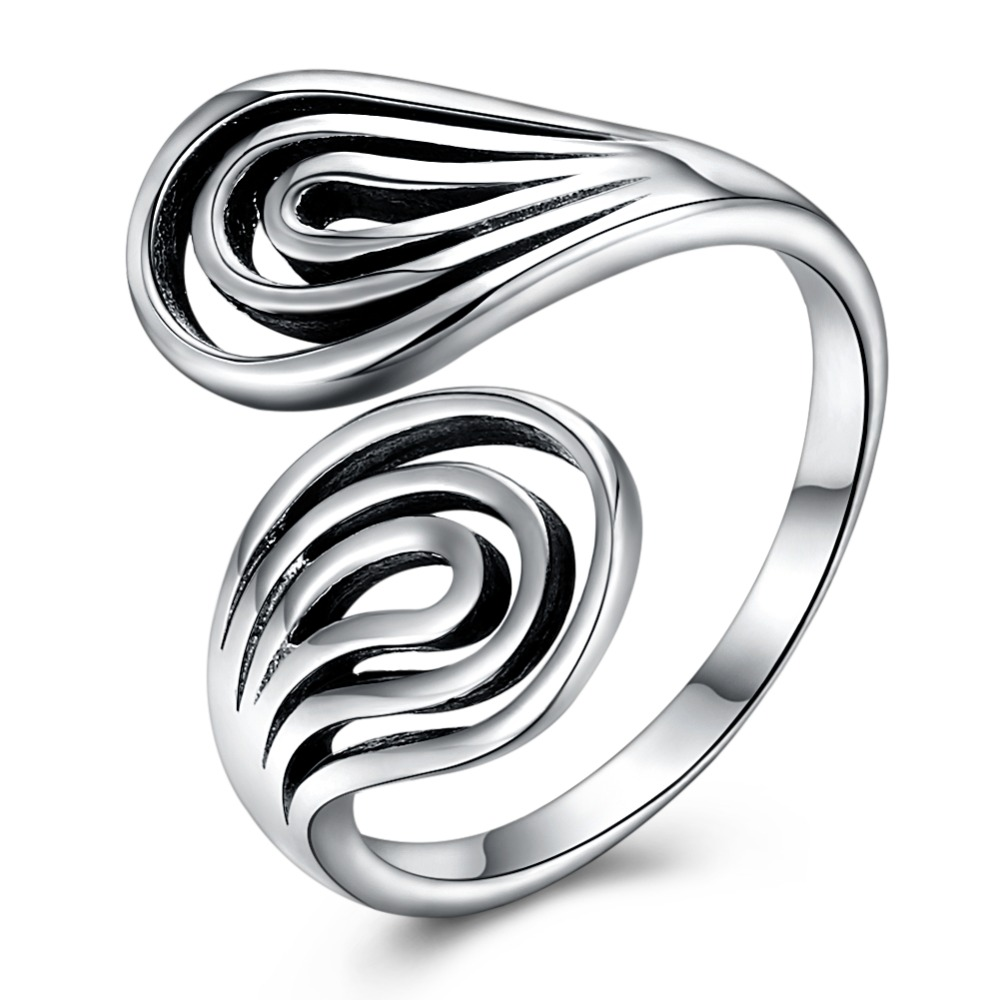 Retro Solid 925 Sterling Silver Rings for Women Party Arc Lines Stack Rings Vintage Ancient Silver Lady Casual Finger Rings OpenRetro Solid 925 Sterling Silver Rings for Women Party Arc Lines Stack Rings Vintage Ancient Silver Lady Casual Finger Rings Open