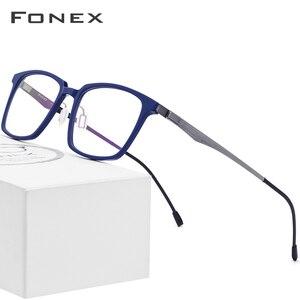 Image 1 - FONEX lunettes optiques en acétate pour hommes, monture de Prescription carrée, 2019, verres de Commerce, verres pour myopie, sans vis