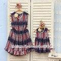 Niños clothing madre e hija vestidos de gasa delgada, 2-10 años de edad del niño ropa de la muchacha, las mujeres más el aumento de Gran tamaño 4XL