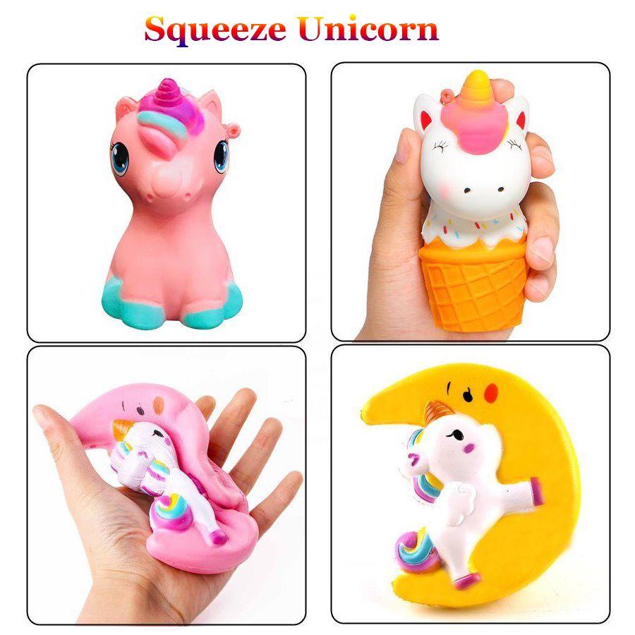 Amiable Colorful Jumbo Unicorn Squishy Doll Slow Rising Flying Horse Phone Strap Decompression Toys Kids Fun Gift Toys High Quality And Low Overhead