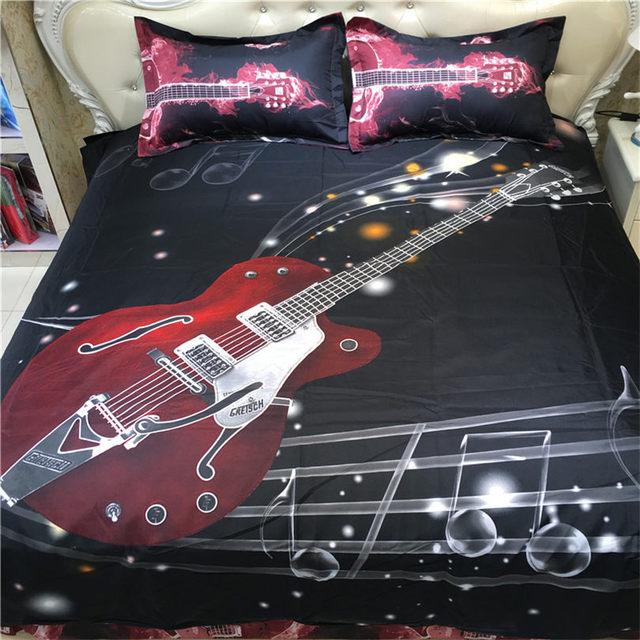 3d Bedding Set Ectronic Guitar Printed Bedclothes Bed Set Duvet Cover Flat  Sheet Pillowcase Queen Size