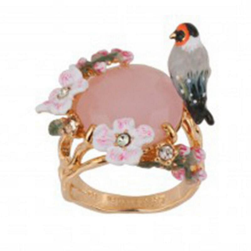 Rings for Woman Transparency Enamel Beautiful Sakura Bird Zircon Gold Plating Ring Party Fashion Jewelry HANDMADE