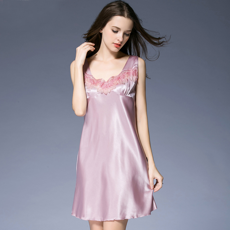 SSH0294 Summer Nightwear Sexy Sleeveless Women   Nightgown     Sleepshirt   V Neck Night Dress Satin Silk Sleepwear Plus Size Nightdress