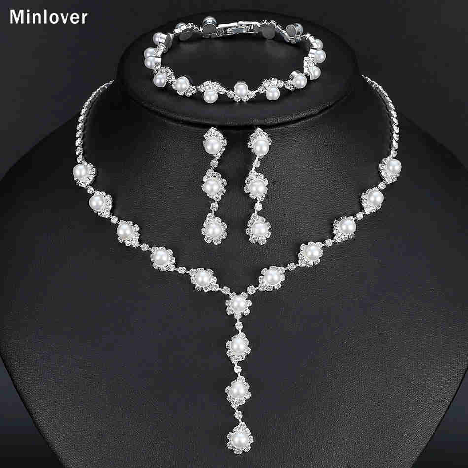 Minlover Floral Simulated Pearl Bride Wedding Jewelry Sets Simple Crystal Necklace Earrings Bracelets Sets for Women TL059+SL077 4