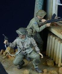 Bonecos de resina modelo wwii, bonecos britânicos de ação 2 com boneco sem pintura 1/35
