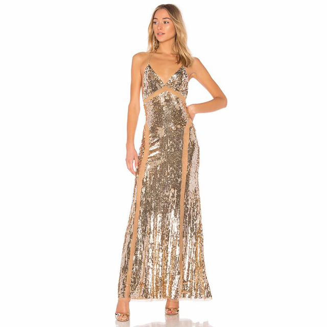 a76f9bb47c US $56.0 20% OFF|Women Celebrity Evening Party Dress 2018 Elegant Gold  Sequins Embellished V Neck Lace Sleeveless Maxi Dress Vestidos-in Dresses  from ...