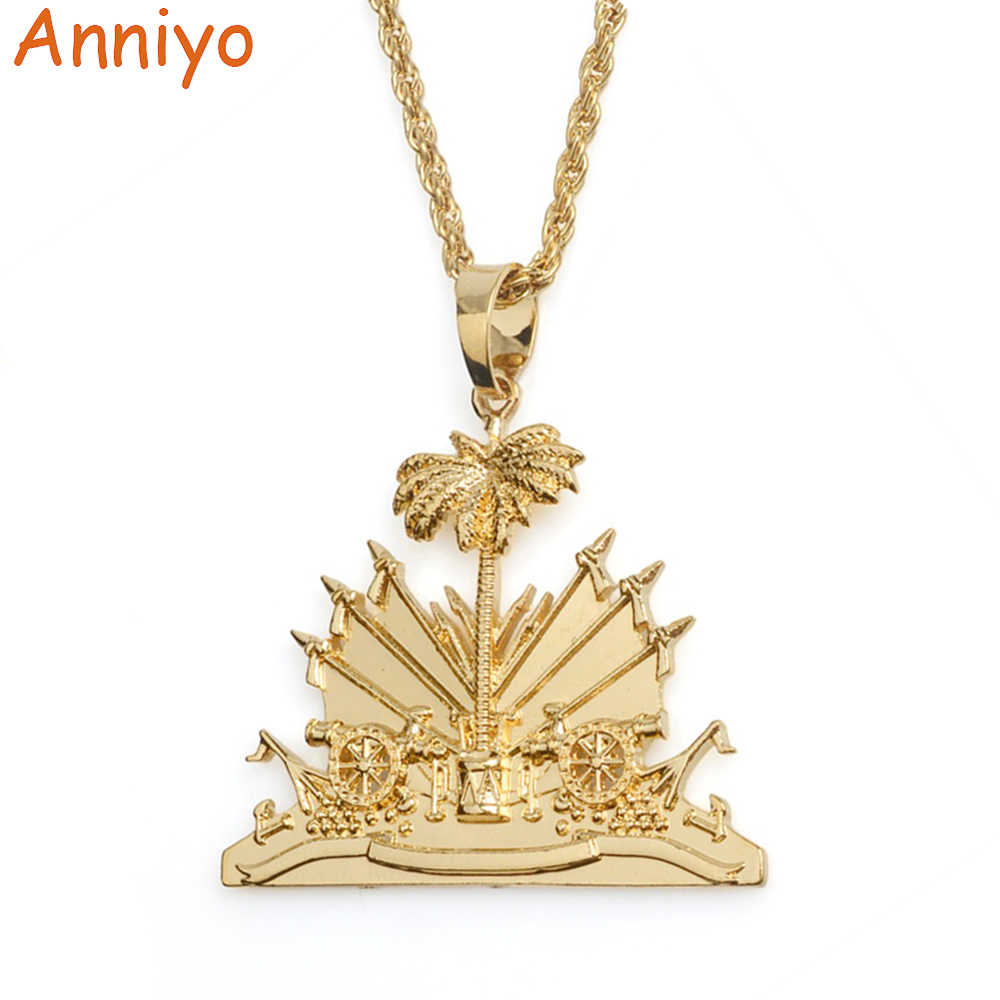 Anniyo Haiti Pendant and Necklace for Women/Girls,Ayiti Items Silver/Gold Color Jewelry Gifts of Haiti #068506