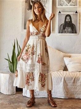 6b4f11ede5c 2018 летние Для женщин Brace платье миди без рукавов с v-образным вырезом  цветочный Модные принты праздничное платье