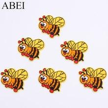 10 шт./лот, нашивка в виде мультяшного мёда для детской одежды, наклейки в виде пчелы с утюгом на вышитую одежду, аппликация в виде животного