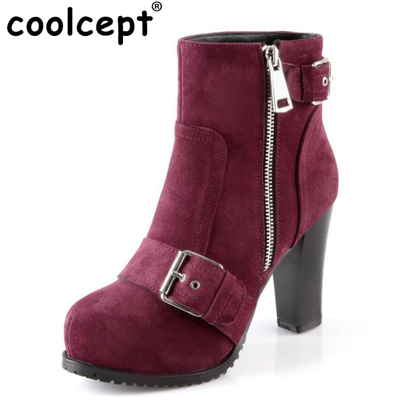 Coolcept women real leather high heels ankle boots half short botas autumn winter boot heels footwear shoes R7454 size 34-39