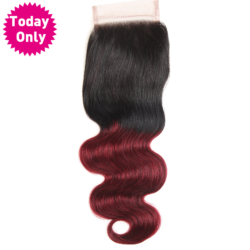 TODAY ONLY Burgundy Brazilian Hair Body Wave Bundles 1b 99J Lace Closure With Baby Hair