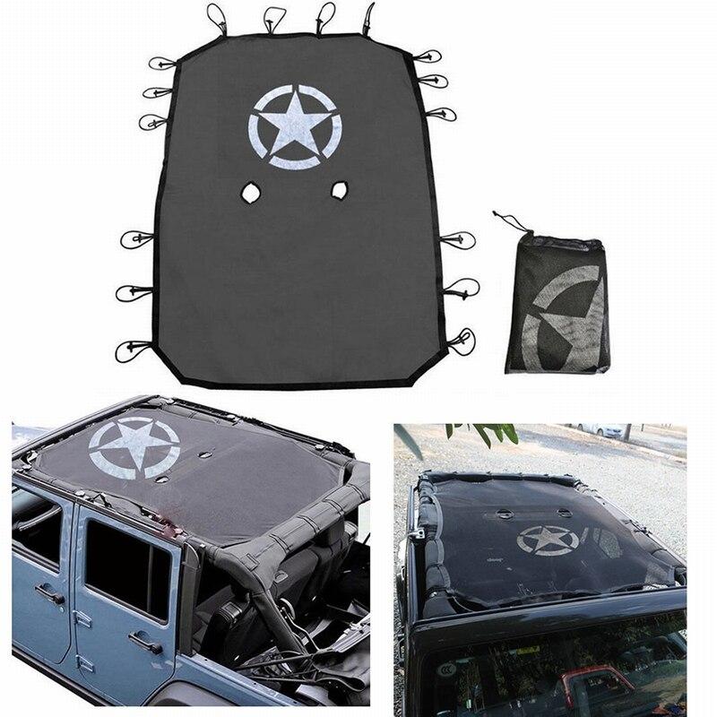 MALUOKASA 4 Porte Pare-Soleil Haut Eclipse Couvercle Étoiles Toit Maille pour Jeep Wrangler JK Offre Une Protection UV Couverture