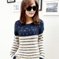 2017 New Super Soft Striped Mohair Sweater Spring Autumn Women Korean Fashion Navy Blue O neck Long-sleeved Pullovers Hot Sale