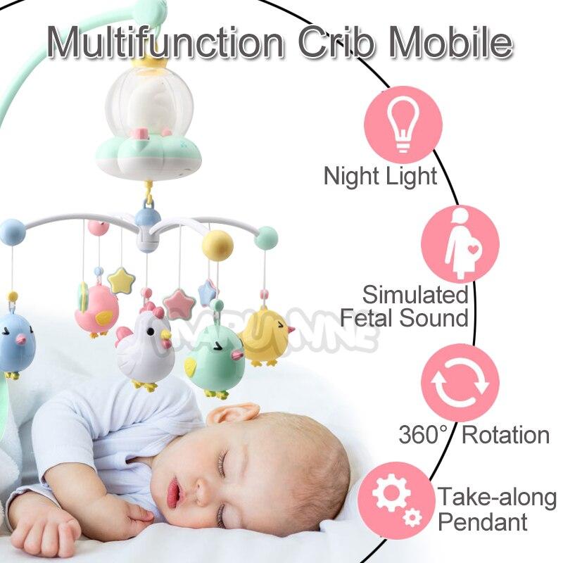 Marumine bébé berceau Mobile jouet avec veilleuse et musique touche boutons lit cloche titulaire hochets pour 0-12 mois nouveau-né garçons filles - 3