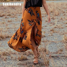 Sukibandra Boho Chic Long Vintage Floral Print Maxi Split Skirt Women Bohemian Hippie Summer Fashion Beach Button Front Skirt