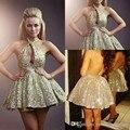 Viman's Bridal Sexy Gold Cocktail Dresses 2016 Halter Sparkle A-Line Backless Short Mini Prom Dress Graduation Party Gown CD033