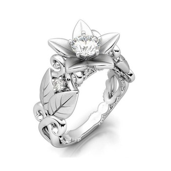 Женское кольцо из серебра 925 пробы, с цирконом, в виде розы
