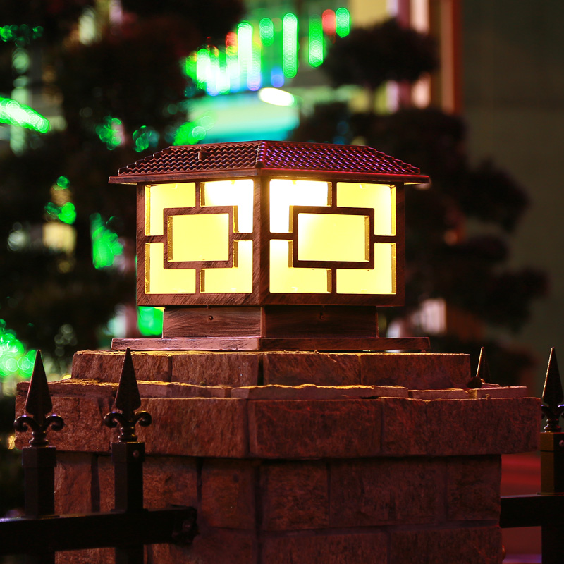 solar post cap lights outdoor lantern lamp retro waterproof rust lighting aluminum chapiter lights garden pillar lamp - 6