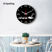 M.Sparkling decorative wall clock cat and swan design creative acrylic living room large clocks home decoration